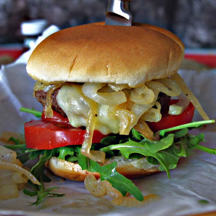 Smoked White Cheddar Burger with Whiskey and Jalapeno Honey Glazed Onions