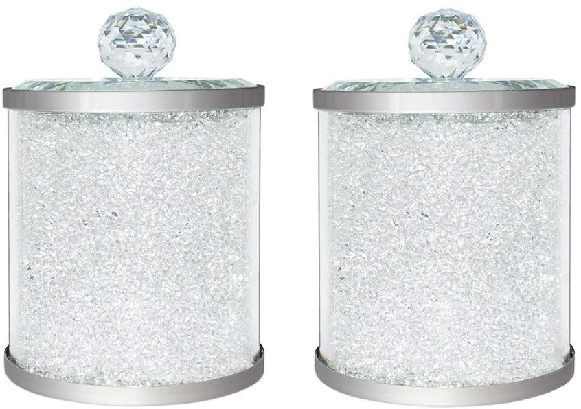 Crystal Candy Glass Jars with Lids, 18 Oz Kitchen Storage Canisters Set of 2