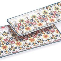 "Bico Red Blue Leaf Ceramic 14"" Rectangular Serving Platter, Set of 2"