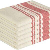 Glamburg Vintage Stripe Premium Cotton Kitchen Dish Towels 6-Pack 16x26 Red, with Hanging Loop