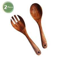 Kalinco Wooden Acacia Salad Servers with Salad Spoon and Fork Set