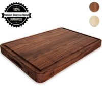 Wood Cutting Board Large Walnut 17x11 Inch Reversible with Handles and Juice Groove