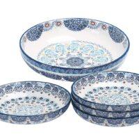 Bico Blue Talavera Ceramic Pasta Bowl, Set of 5