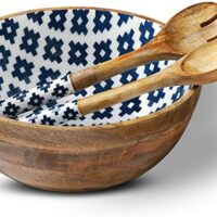 Wooden Salad Bowl with 2 Servers, Mango Wood | Dixie Chik Cooks