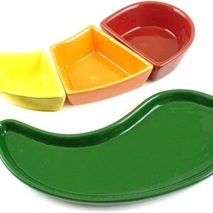 Fiesta Pepper Tray with Dip Bowls