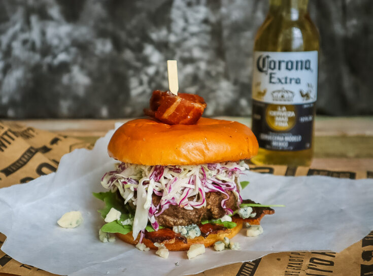 Gorgonzola Jerk Burger with Brandied Peach Bacon