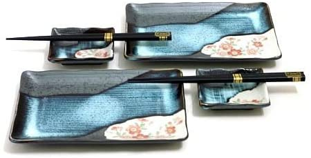 Sushi Set Made In Japan - Cherry Blossom Japanese Sushi Set For 2, Ceramic Dinnerware Set | Dixie Chik Cooks