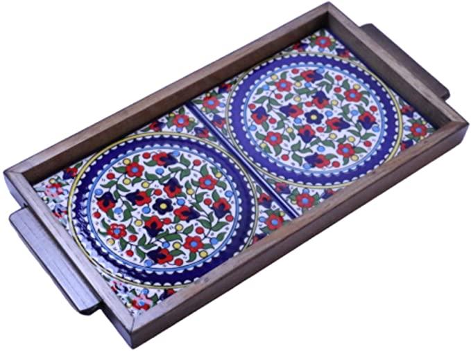 Hebron Arts Ceramic Wooded Serving Platter
