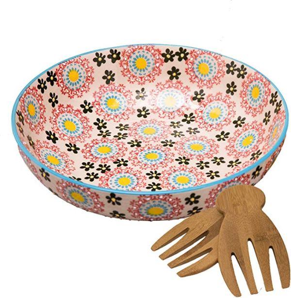 Large Stoneware Salad Serving Bowl, Multicolor Mexican Floral Design