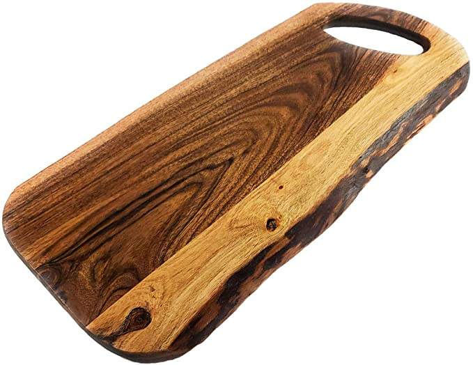 Acacia Serving Cutting Charcuterie Board With Round Handle, 18 x 8 inches