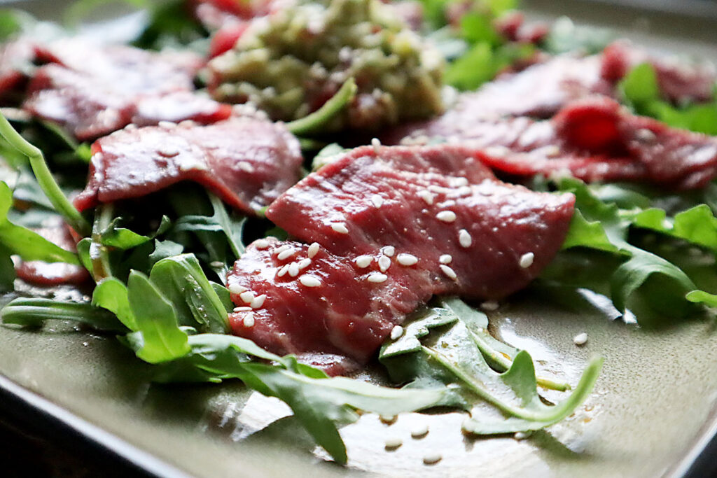 Beef Carpaccio with Ginger Guacamole